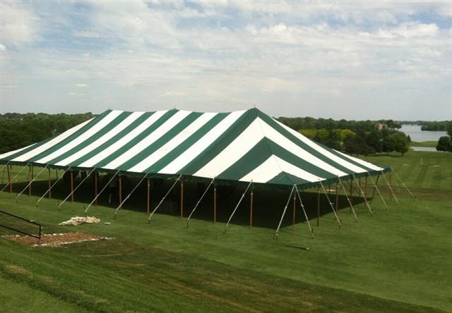 40w Striped Grn Wht 40x40 Canopy Rentals Lansing Mi