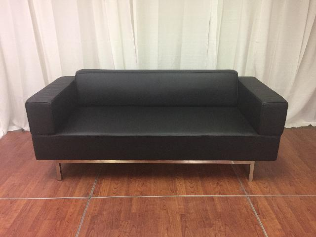 Where to find Soft seating, Black Leather Couch, 78 in Lansing