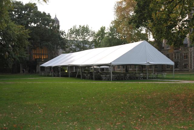 Rent Frame Tent, 40w Gable End.  Clear And White Tops.